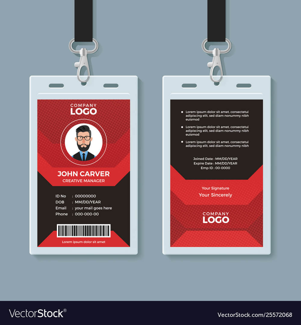 Modern Red And Black Id Card Template inside Id Card Template Ai