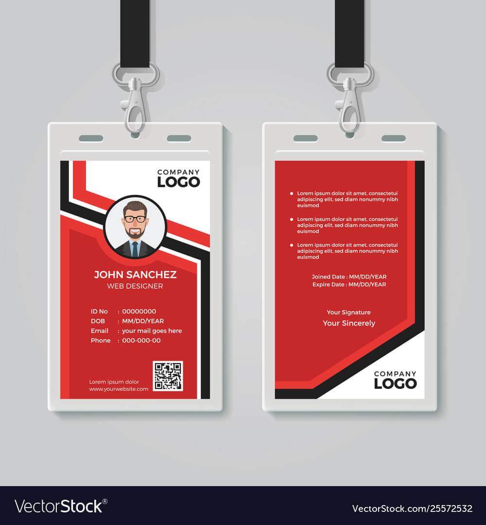 Modern Red Id Card Template Regarding Media Id Card Templates