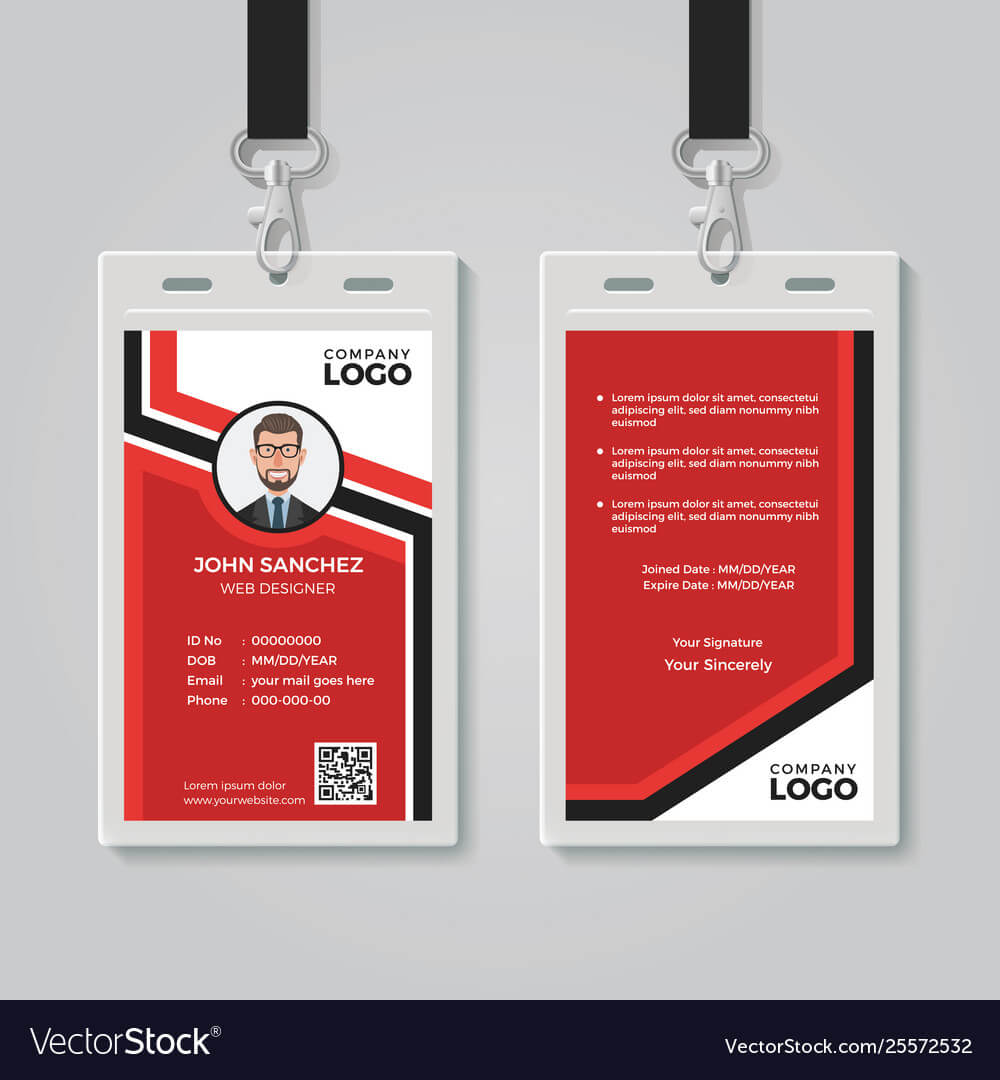 Modern Red Id Card Template with Id Card Template Ai