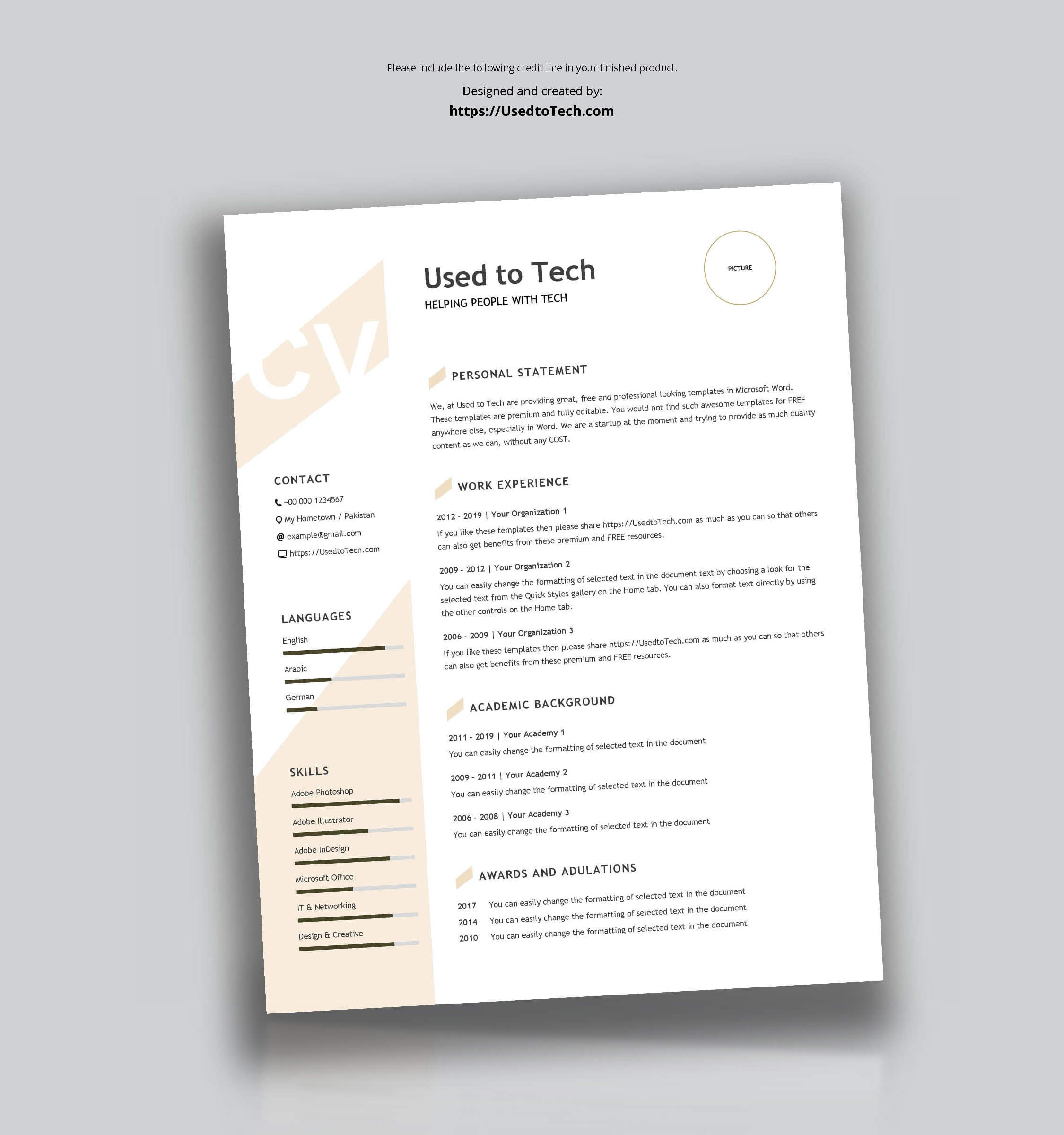 Modern Resume Template In Word Free - Used To Tech in How To Get A Resume Template On Word