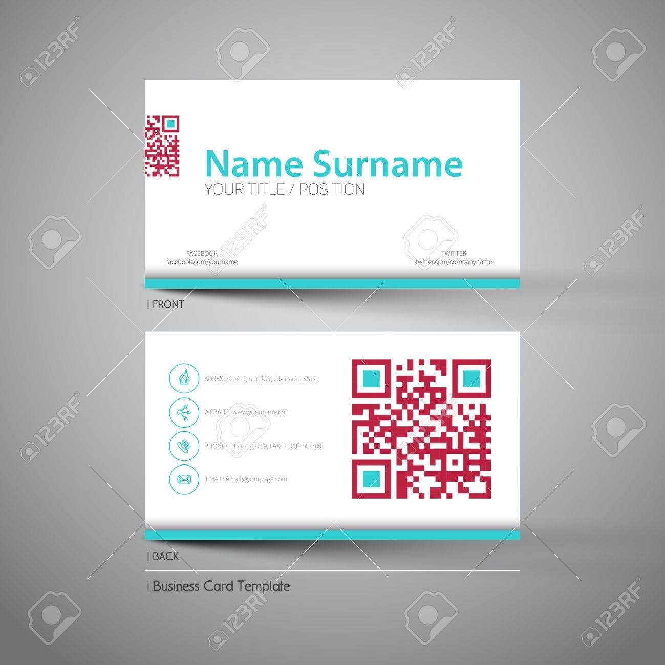 Modern Simple Light Business Card Template With Big Qr Code with Qr Code Business Card Template
