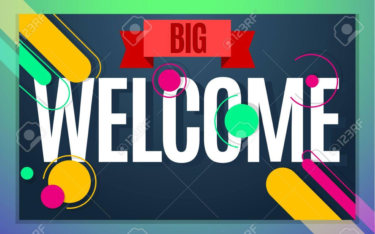 Modern Style Welcome Banner Color Design. Vector Illustration.. In Welcome Banner Template