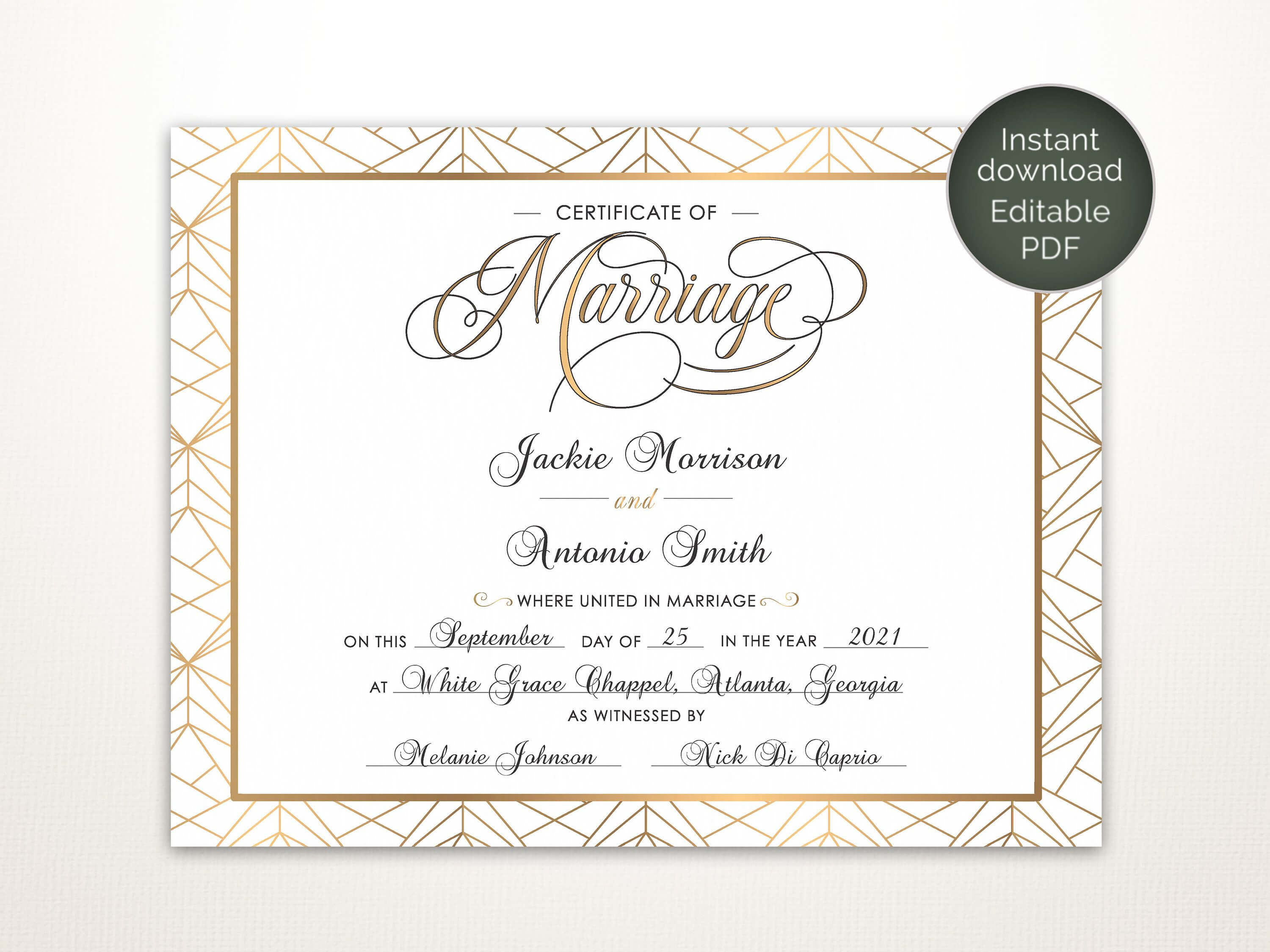 Modern Wedding Certificate, Printable Certificate Of pertaining to Certificate Of Marriage Template