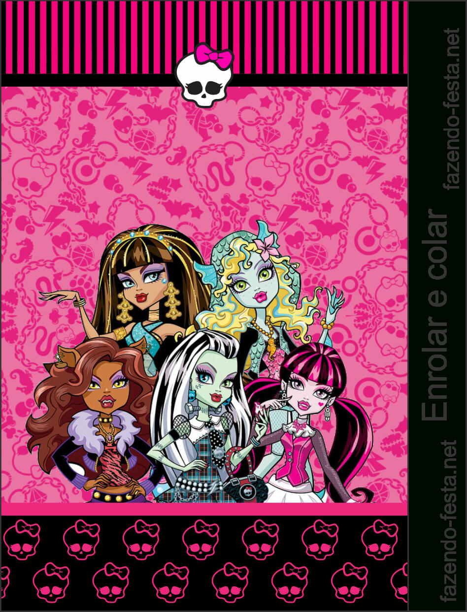 Monster High In Pink: Free Printable Kit. | School Bags For inside Monster High Birthday Card Template