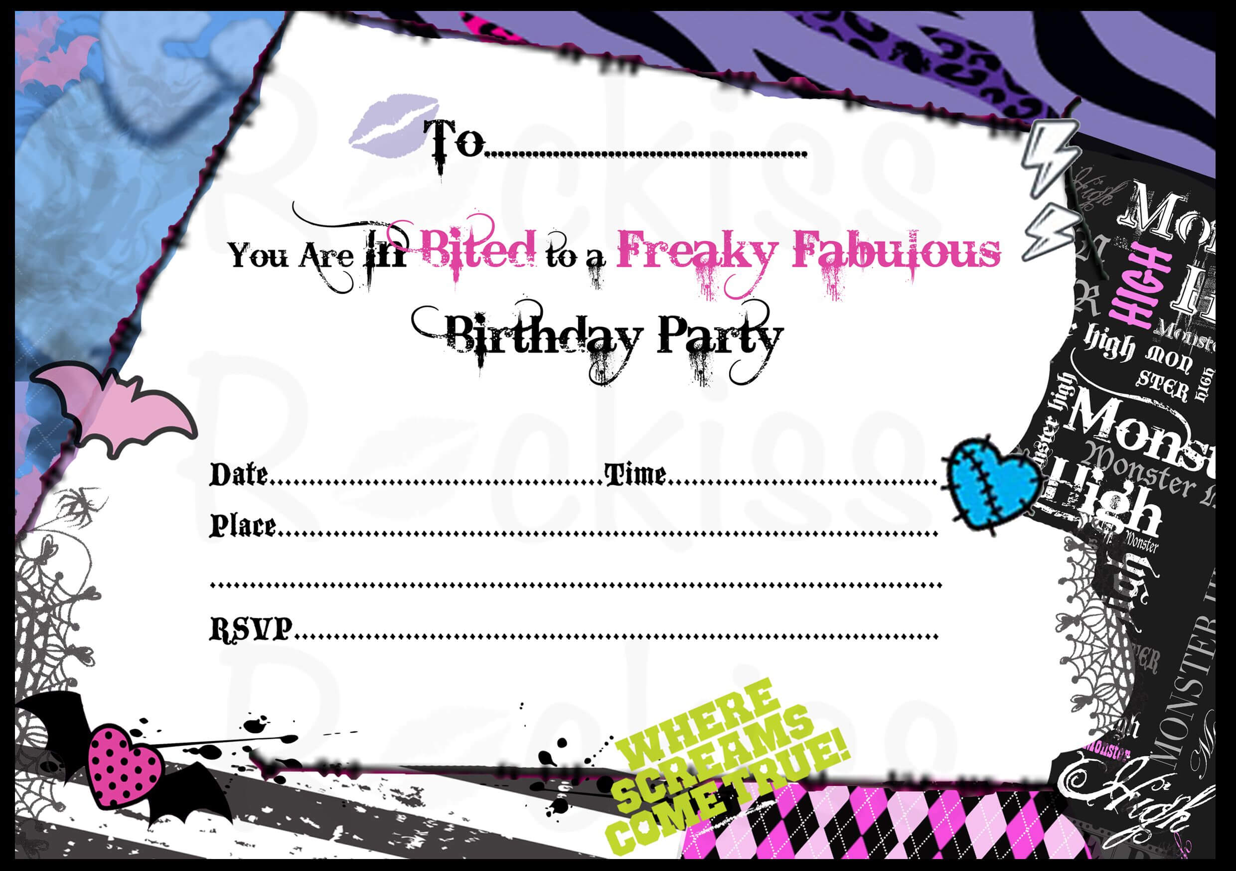 Monster High Invitations Download Free | Monster High regarding Monster High Birthday Card Template
