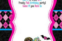 Monster High Party Invitations Template • Invitation with regard to Monster High Birthday Card Template