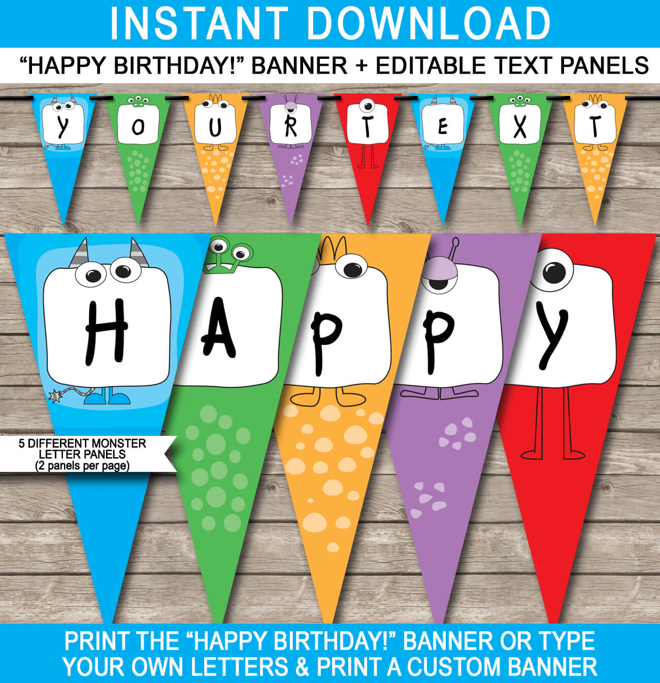 Monster Party Banner Template throughout Diy Party Banner Template