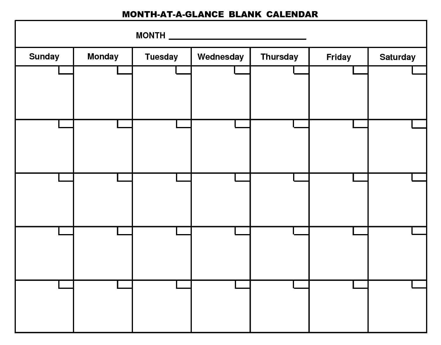 Month At A Glance Blank Calendar Template - Atlantaauctionco In Month At A Glance Blank Calendar Template