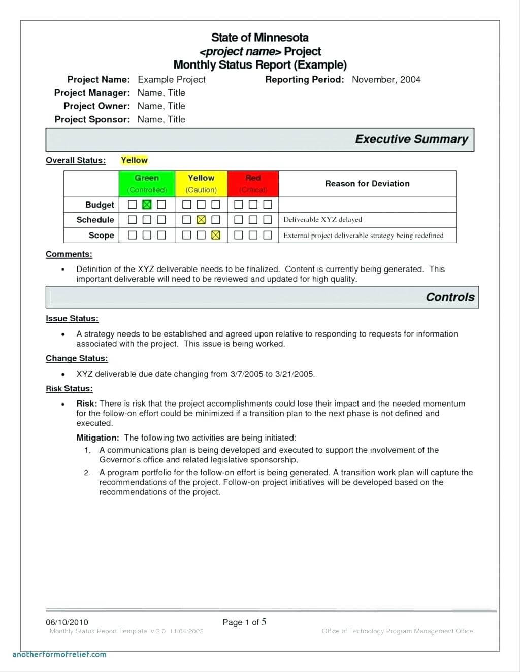 Monthly Executive Report Template – Diadeveloper with regard to Monthly Status Report Template Project Management