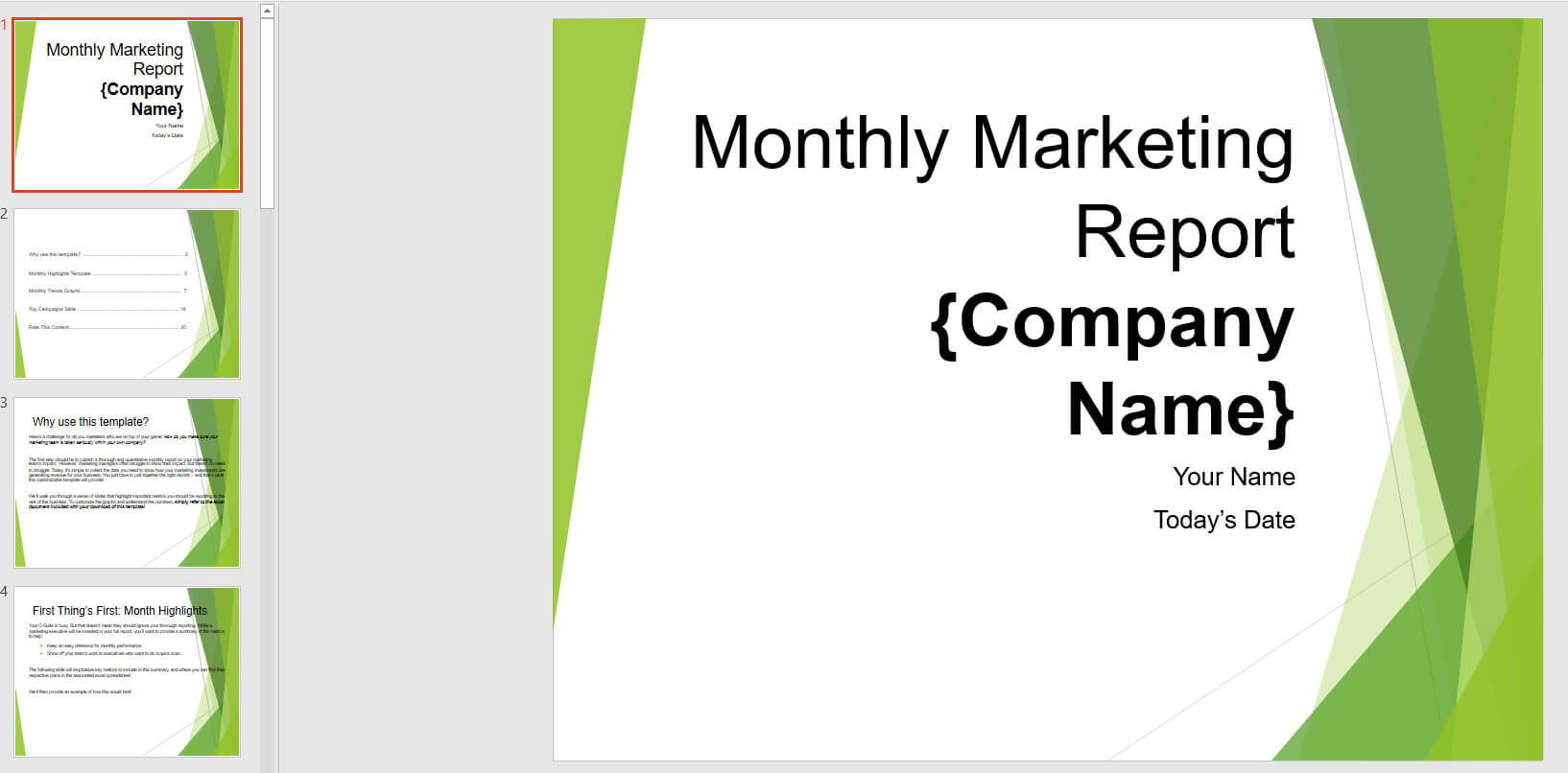 Monthly Marketing Reporting Powerpoint Template | Templates inside Monthly Report Template Ppt
