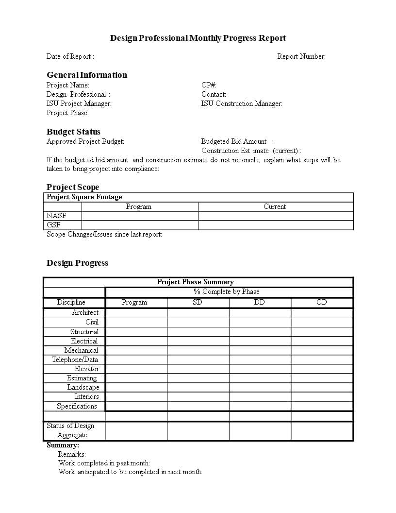Monthly Progress Report In Word | Templates At with regard to Monthly Project Progress Report Template