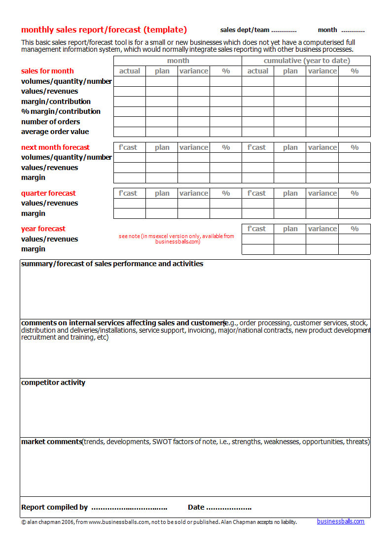 Monthly Sales Forecast Report Template | Templates At in Sales Team Report Template