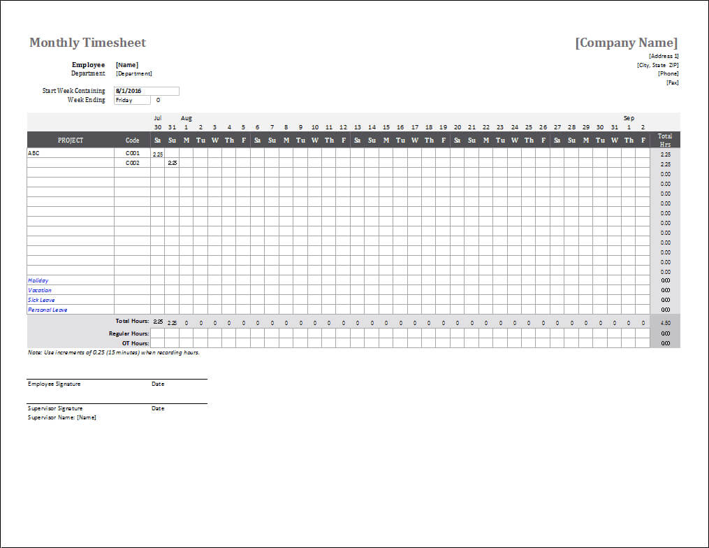 Monthly Timesheet Template For Excel And Google Sheets throughout Weekly Time Card Template Free