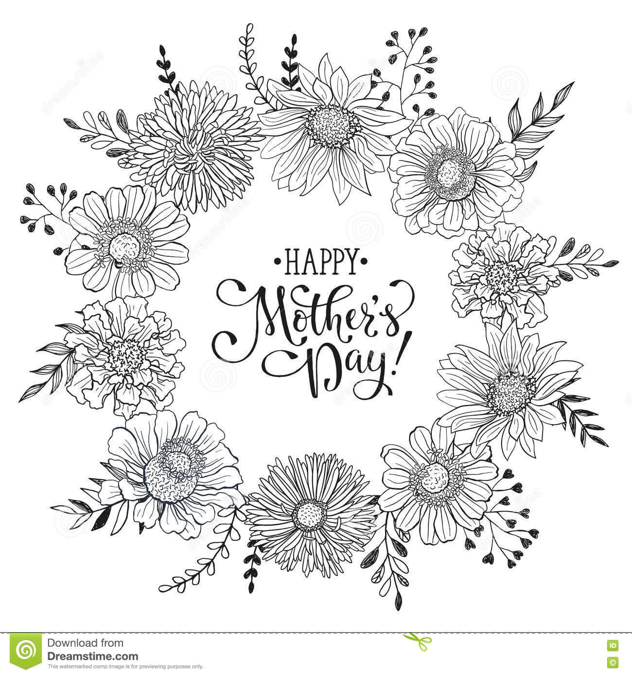 Mother's Day Card Stock Vector. Illustration Of Monochrome inside Mothers Day Card Templates