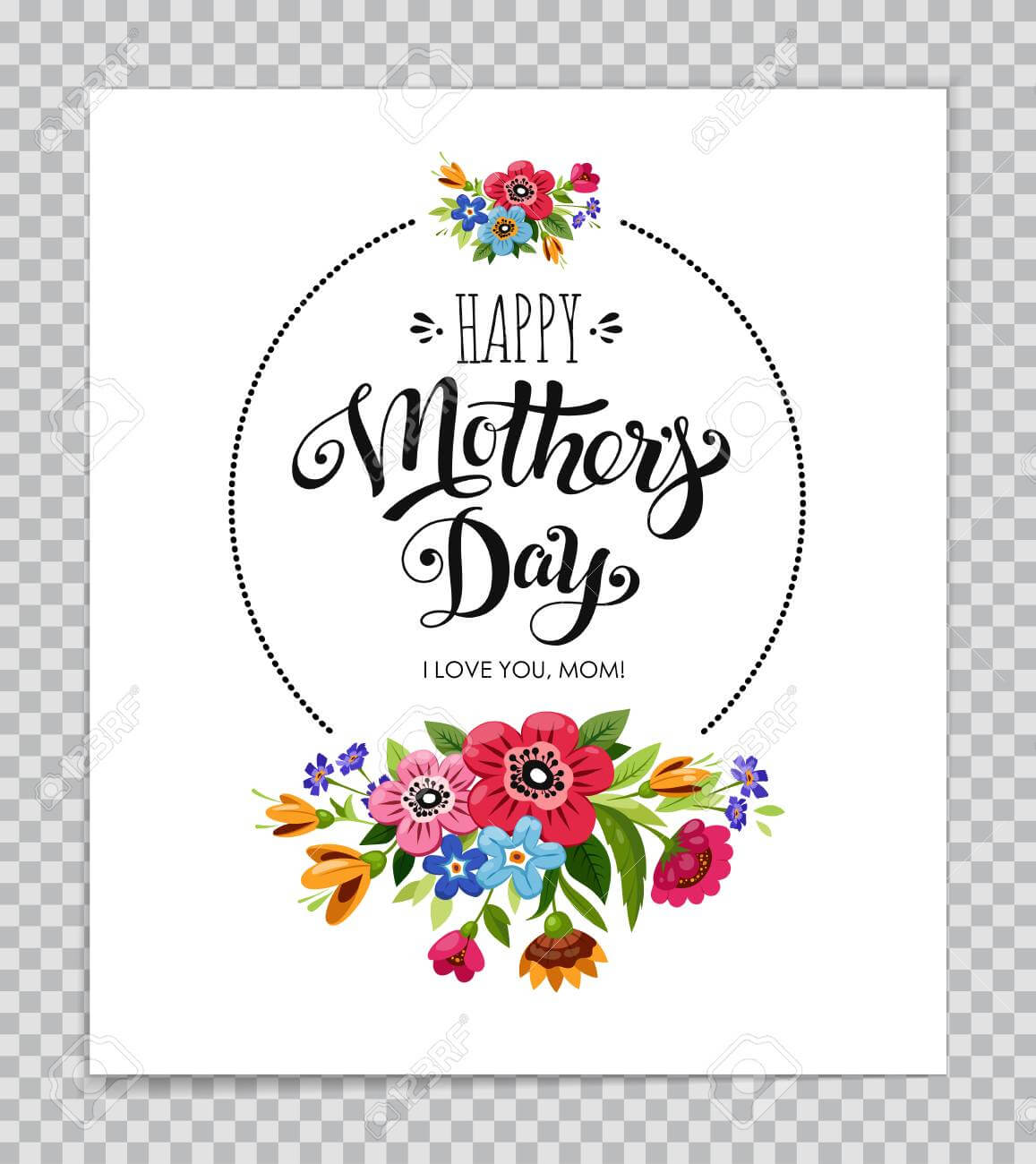 Mothers Day Card Template With Floral Design On Transparent Background. intended for Mothers Day Card Templates