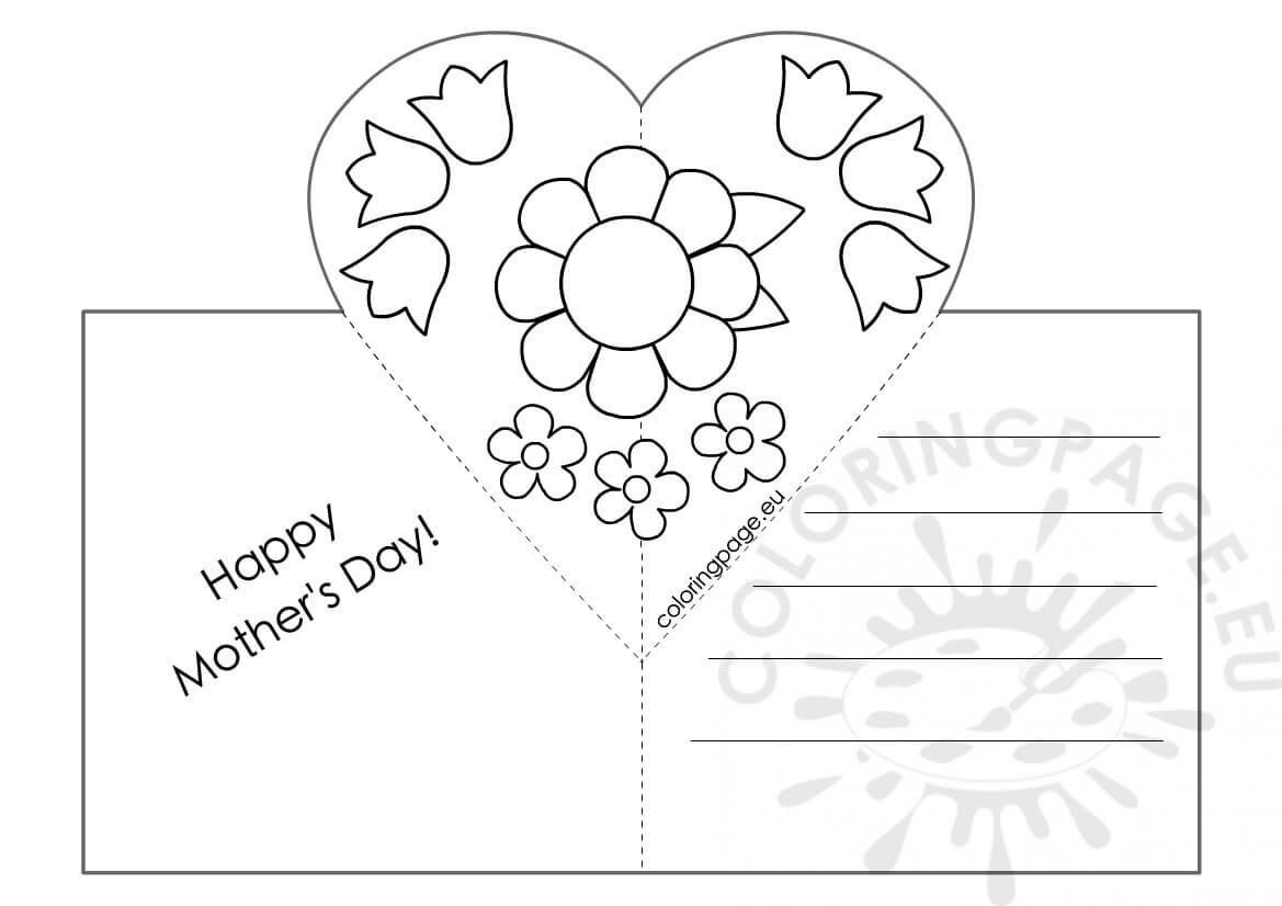 Mothers Day Card With Heart Pop-Up Template – Coloring Page inside Pop Out Heart Card Template