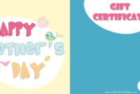 Mother's Day Gift Certificate Templates throughout Player Of The Day Certificate Template
