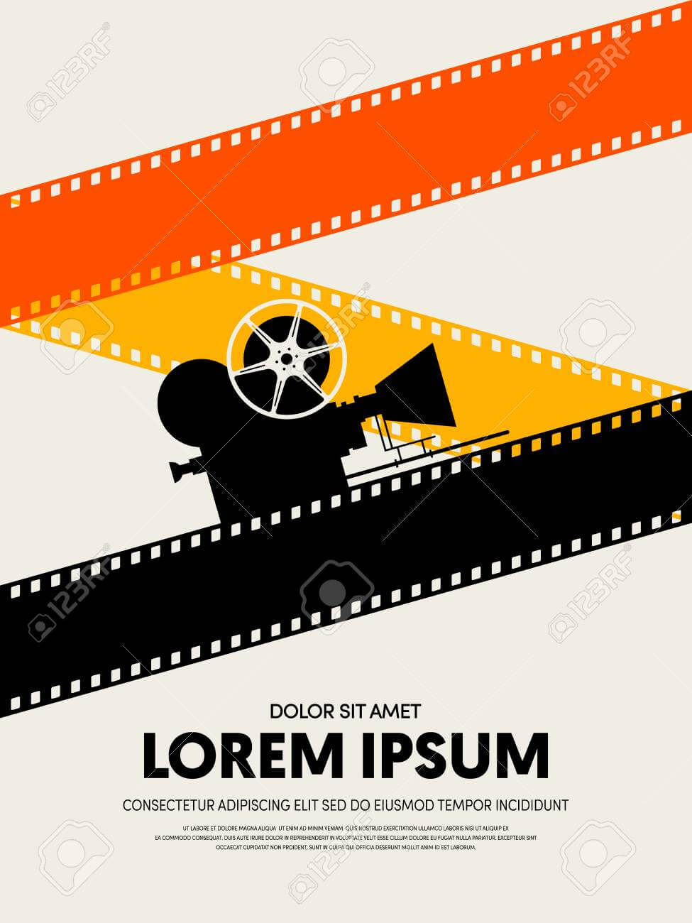 Movie And Film Festival Poster Template Design Modern Retro Vintage.. With Regard To Film Festival Brochure Template