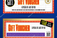 Movie Ticket Sign Theme Gift Voucher Or Gift Coupon Template In Movie Gift Certificate Template