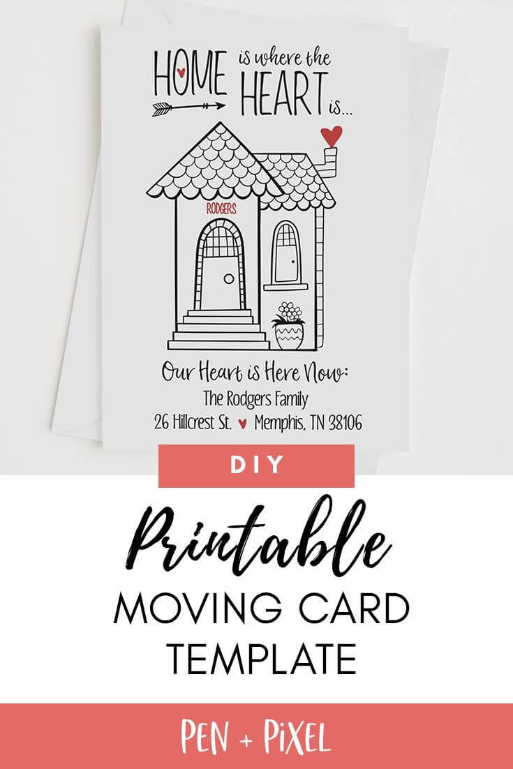 Moving Announcement, New Home, Moving, Change Of Address with regard to Moving Home Cards Template