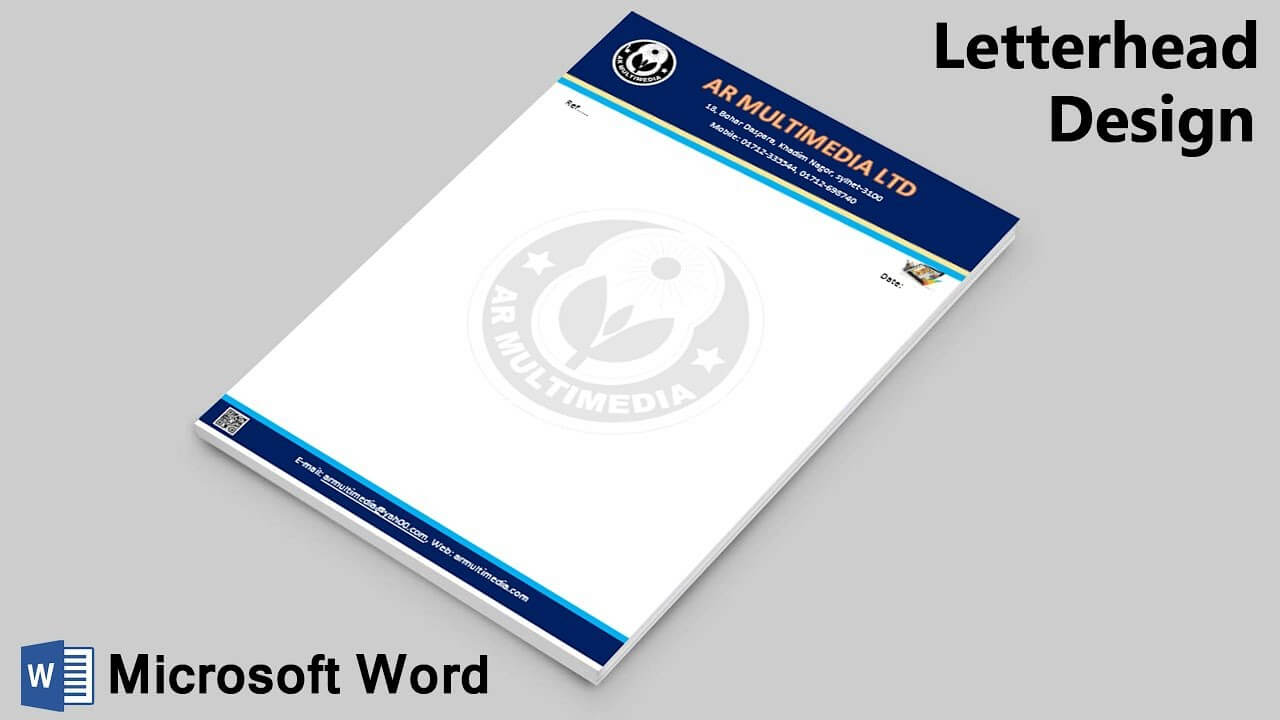 Ms Word Tutorial: How To Make Letterhead Design In Microsoft Word 2019|Ms W  Pad {Ar Multimedia} within How To Create A Letterhead Template In Word