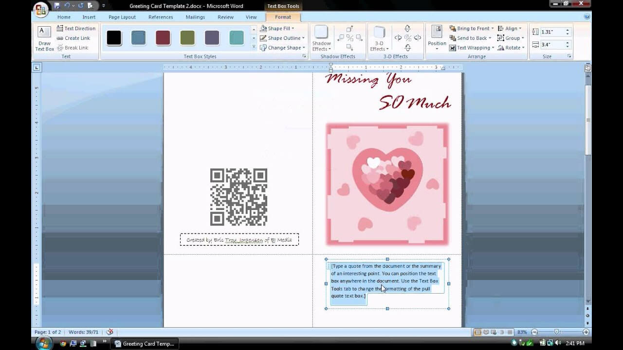 Ms Word Tutorial (Part 1) - Greeting Card Template, Inserting And  Formatting Text, Rotating Text Within Birthday Card Template Microsoft Word