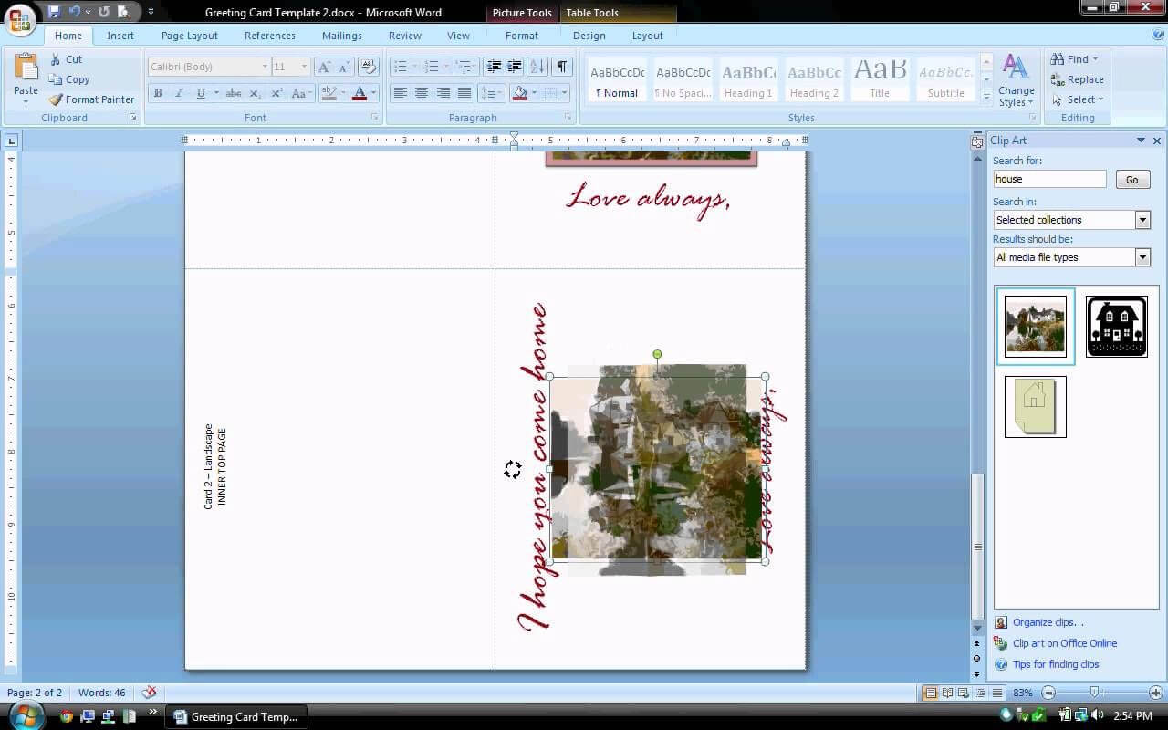 Ms Word Tutorial (Part 2) - Greeting Card Template Throughout Birthday Card Template Microsoft Word