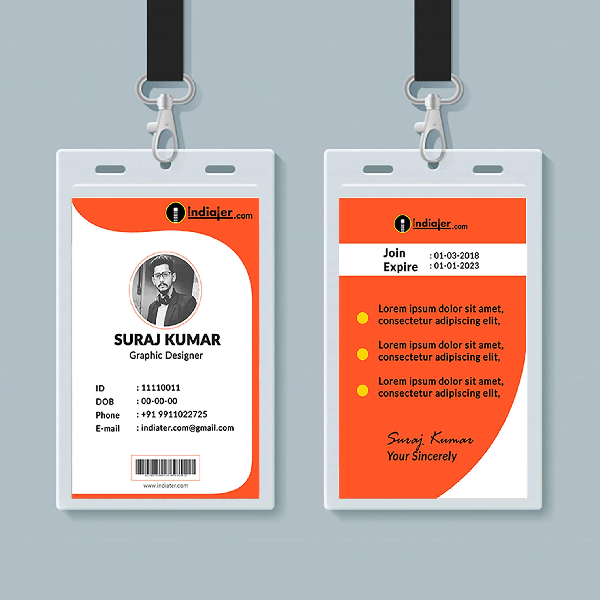 Multipurpose Corporate Office Id Card Free Psd Template inside Template For Id Card Free Download