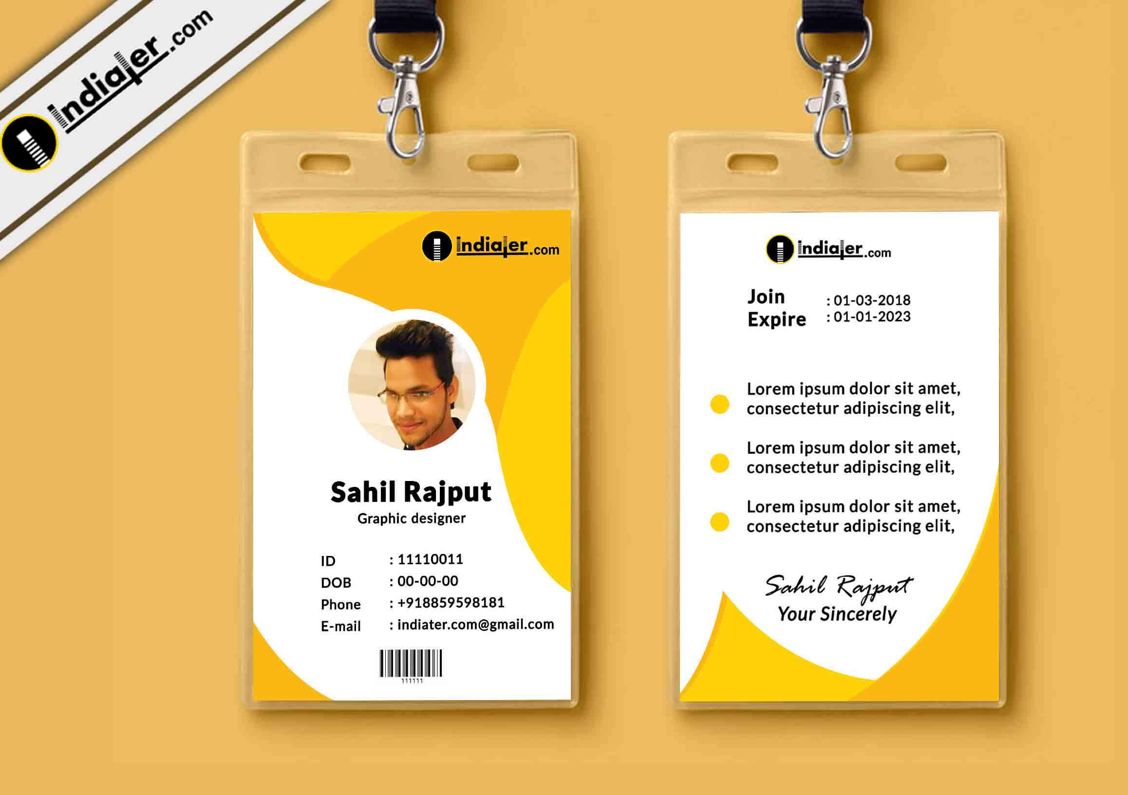 Multipurpose Corporate Office Id Card Free Psd Template Pertaining To Media Id Card Templates