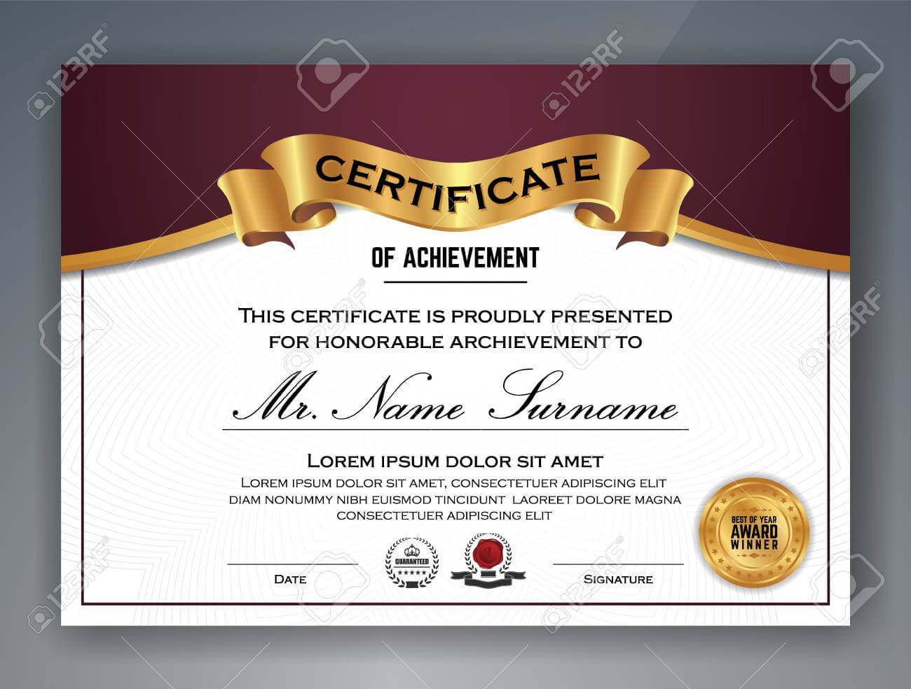 Multipurpose Professional Certificate Template Design For Print Regarding Professional Award Certificate Template