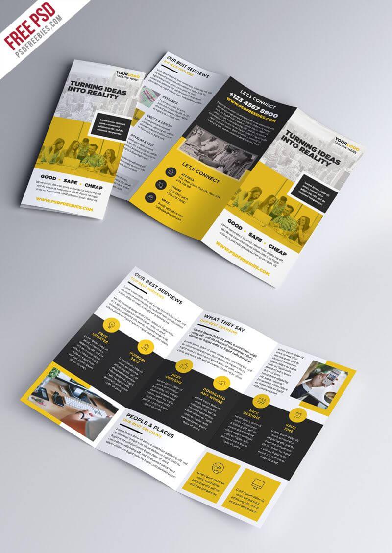 Multipurpose Tri Fold Brochure Psd Template | Abundant In Brochure Psd Template 3 Fold