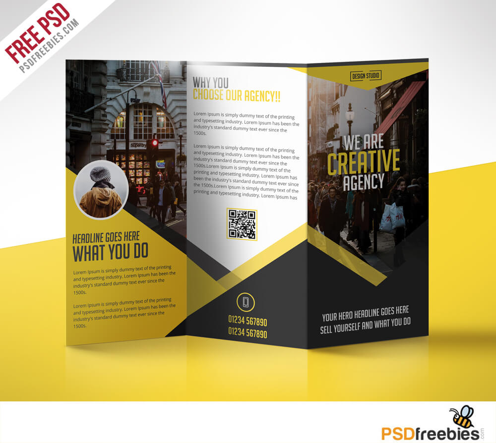 Multipurpose Trifold Business Brochure Free Psd Template Regarding 3 Fold Brochure Template Free Download