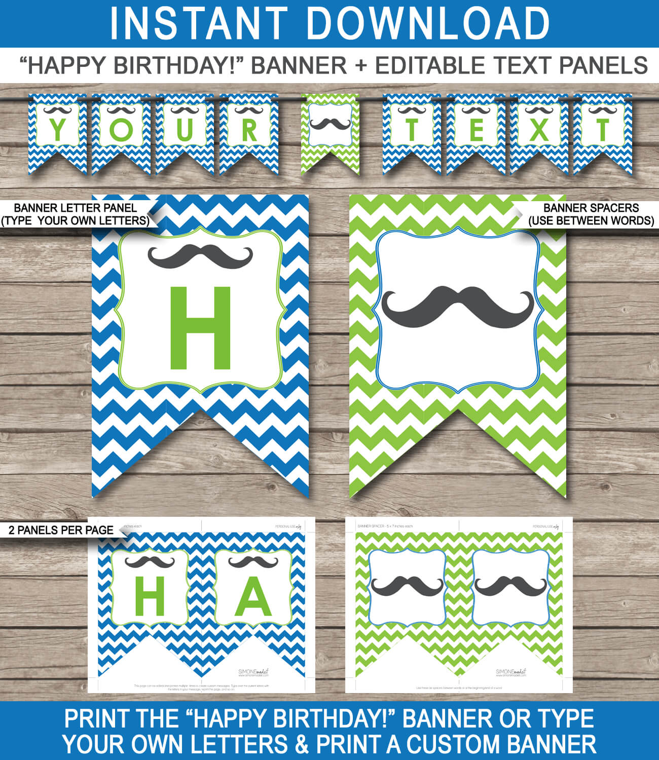 Mustache Party Banner Template in Free Printable Party Banner Templates