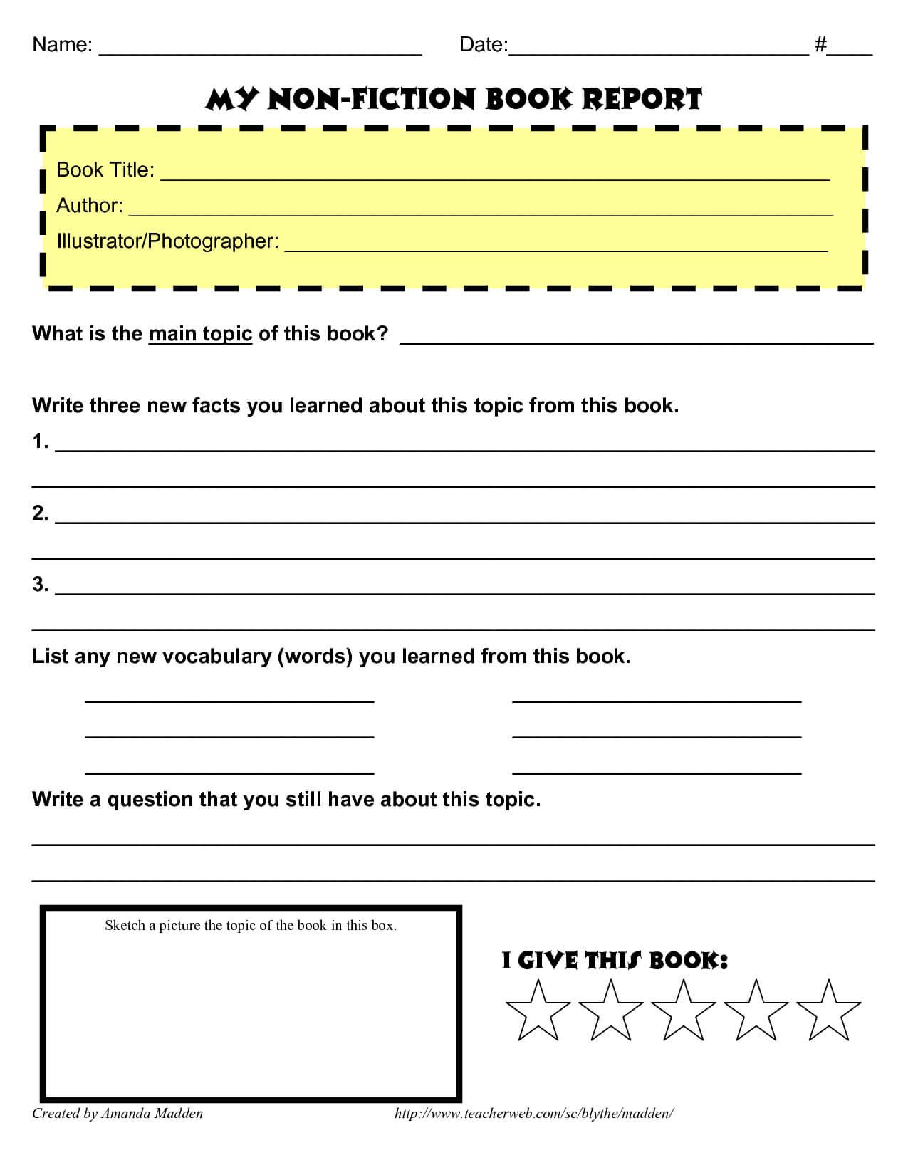 My Non Fiction Book Report …   Book Report Templates, Book Regarding 4Th Grade Book Report Template