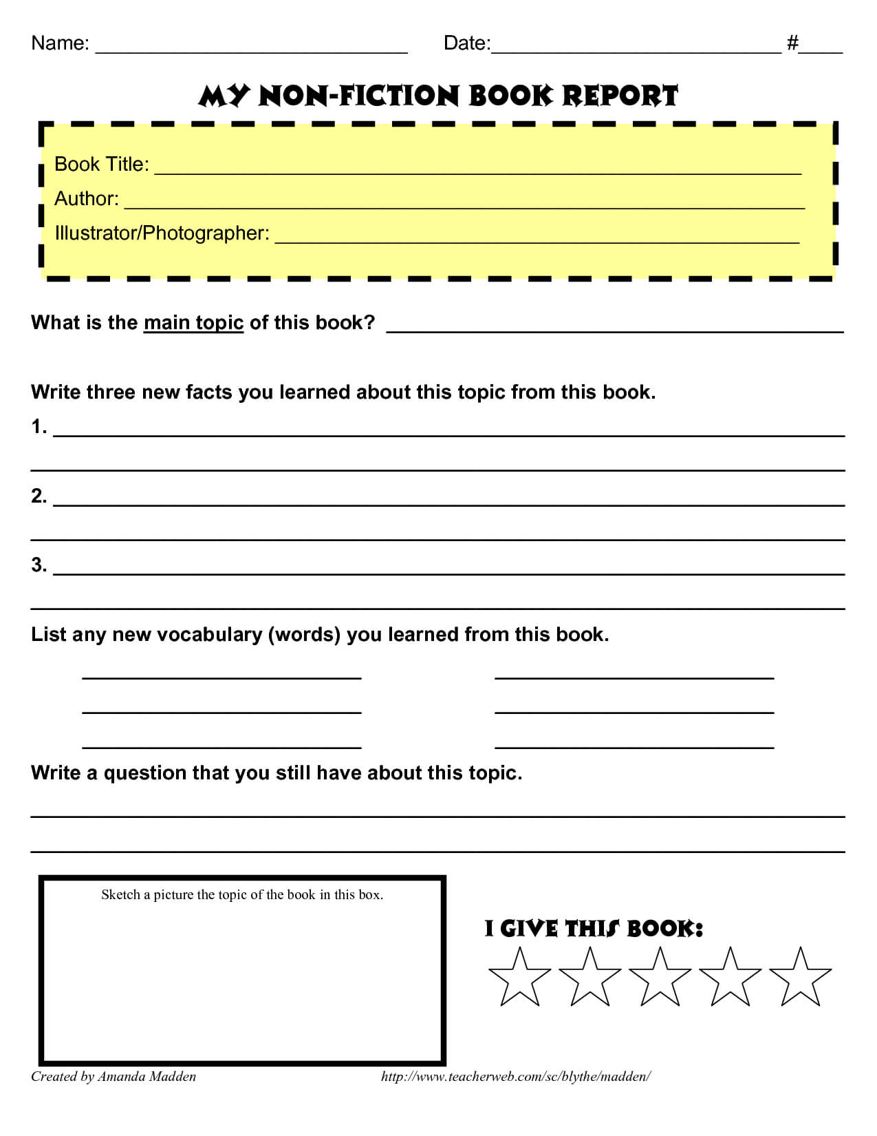 My Non Fiction Book Report … | Book Report Templates, Book Regarding Nonfiction Book Report Template