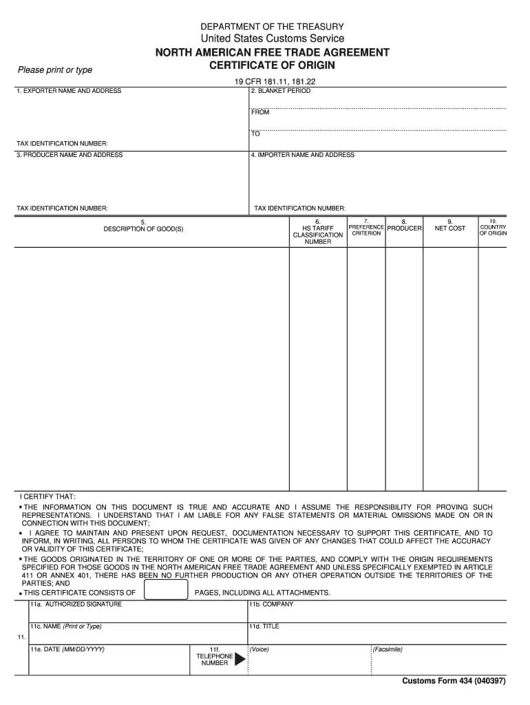 Nafta Certificate Of Origin - Fill Online, Printable Pertaining To Nafta Certificate Template