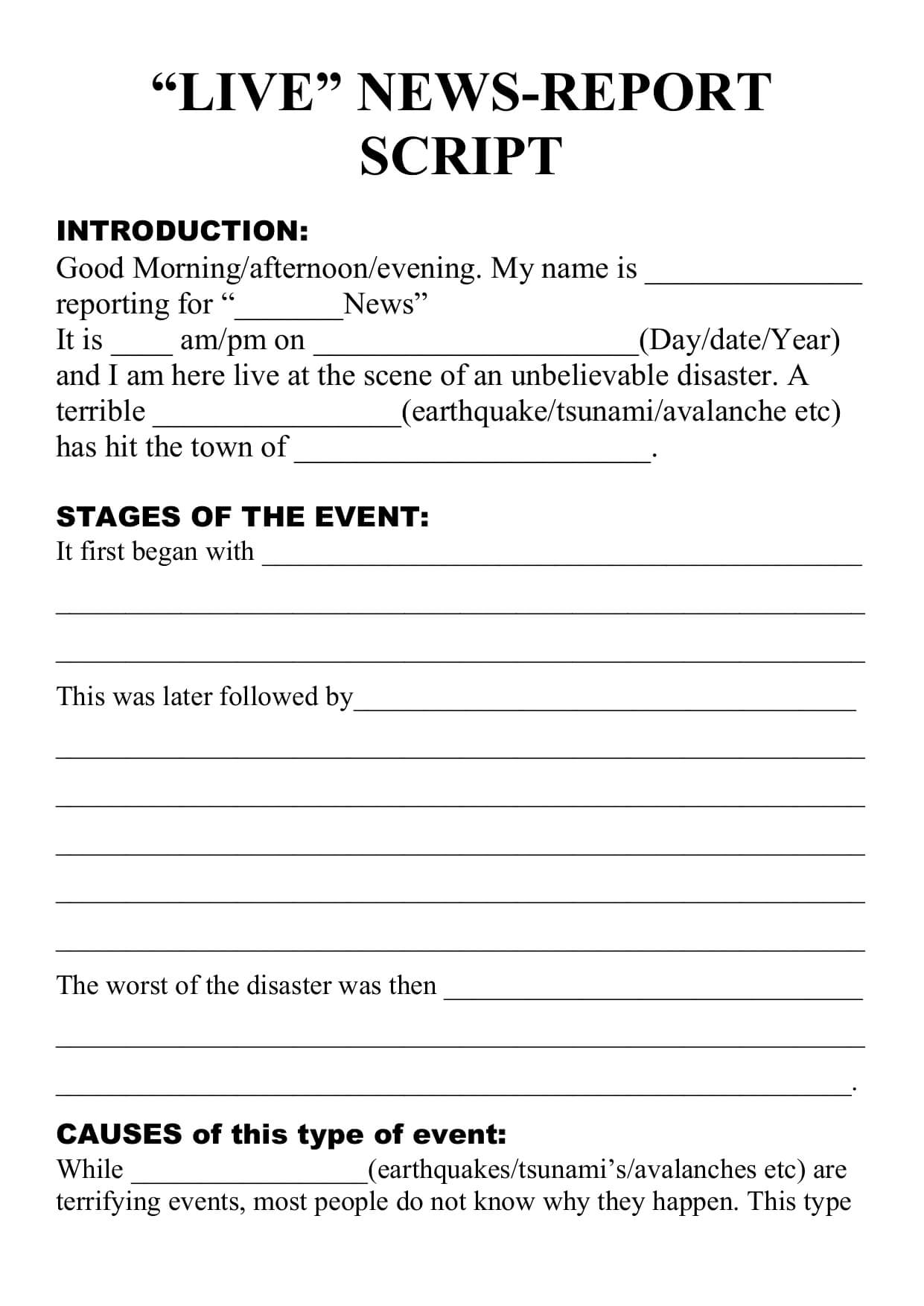 Natural Disaster – Live Newsreport Script Template Throughout News Report Template