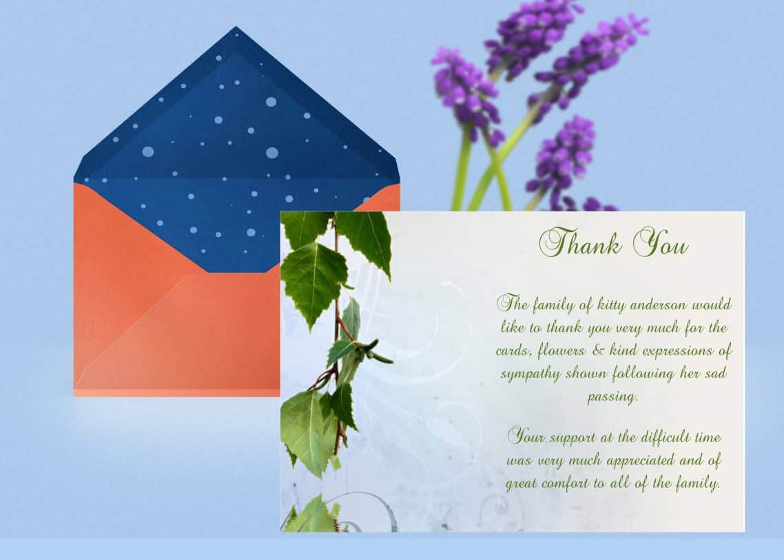 Natural Thank You Card Template within Sympathy Thank You Card Template