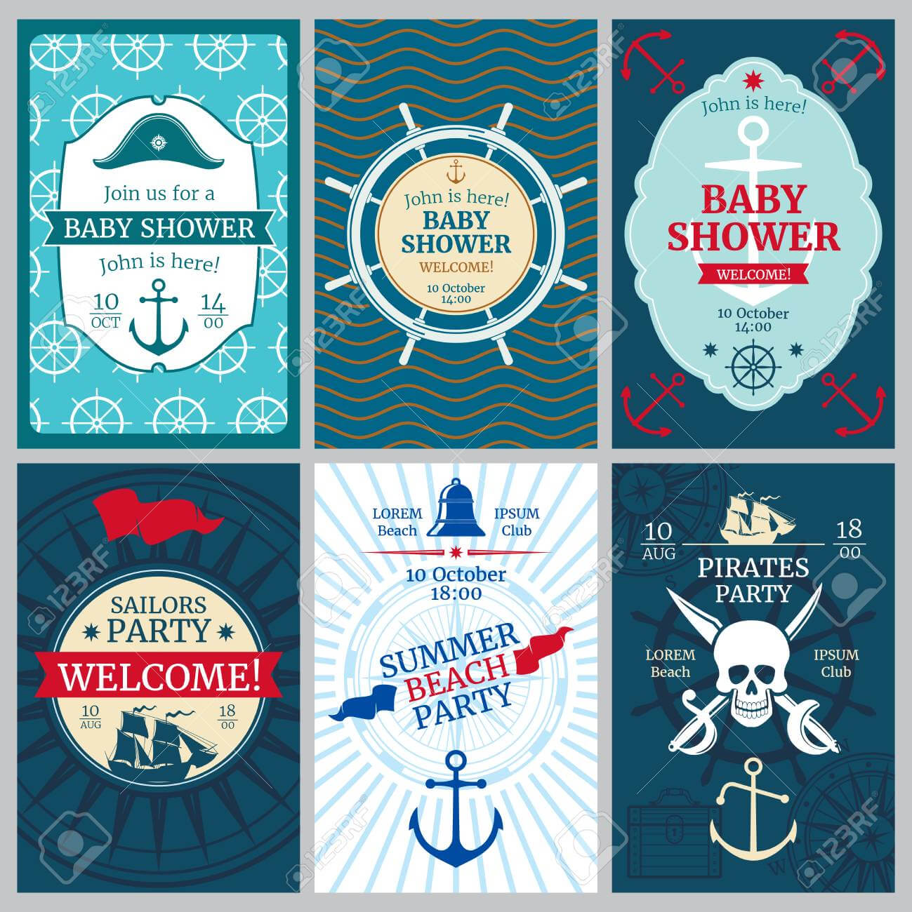Nautical Baby Shower, Birthday, Beach Party Vector Invitation.. in Nautical Banner Template