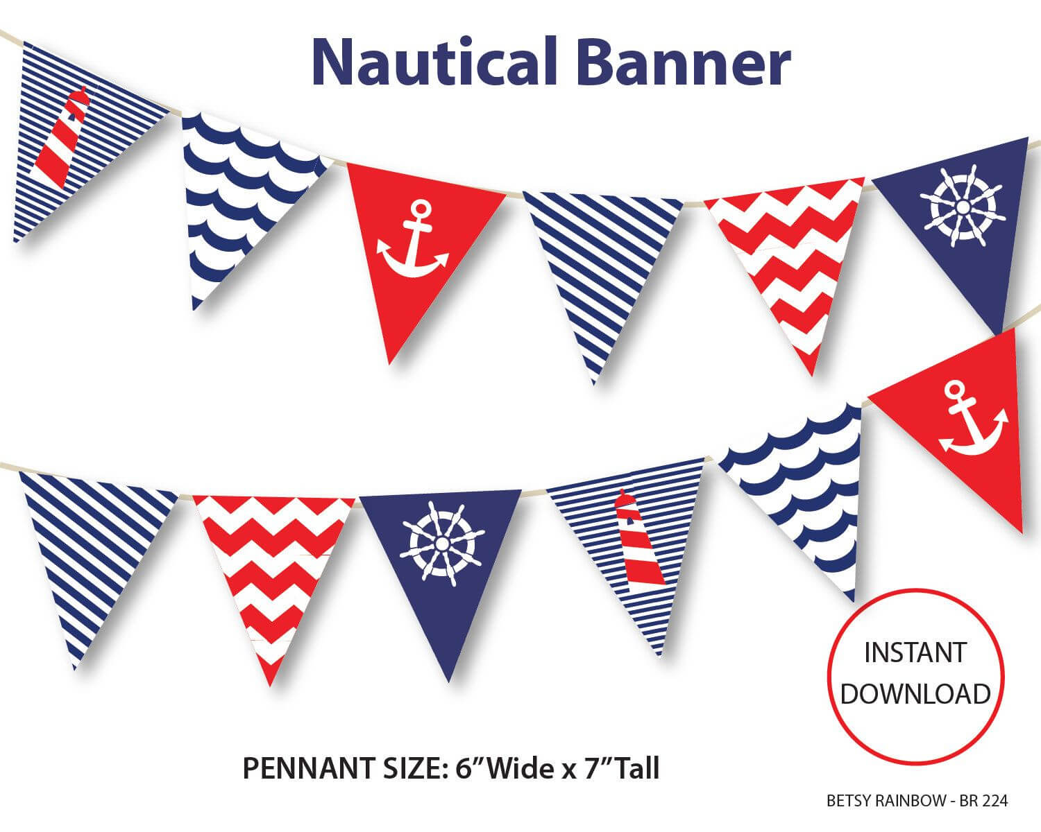 Nautical Banner, Printable Banner, Nautical, Diy Party, Navy pertaining to Nautical Banner Template