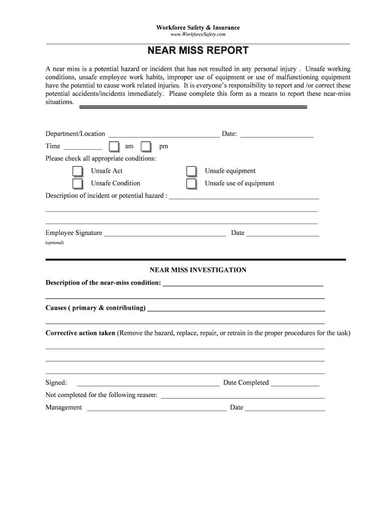Near Miss Report Form - Fill Online, Printable, Fillable pertaining to Incident Hazard Report Form Template