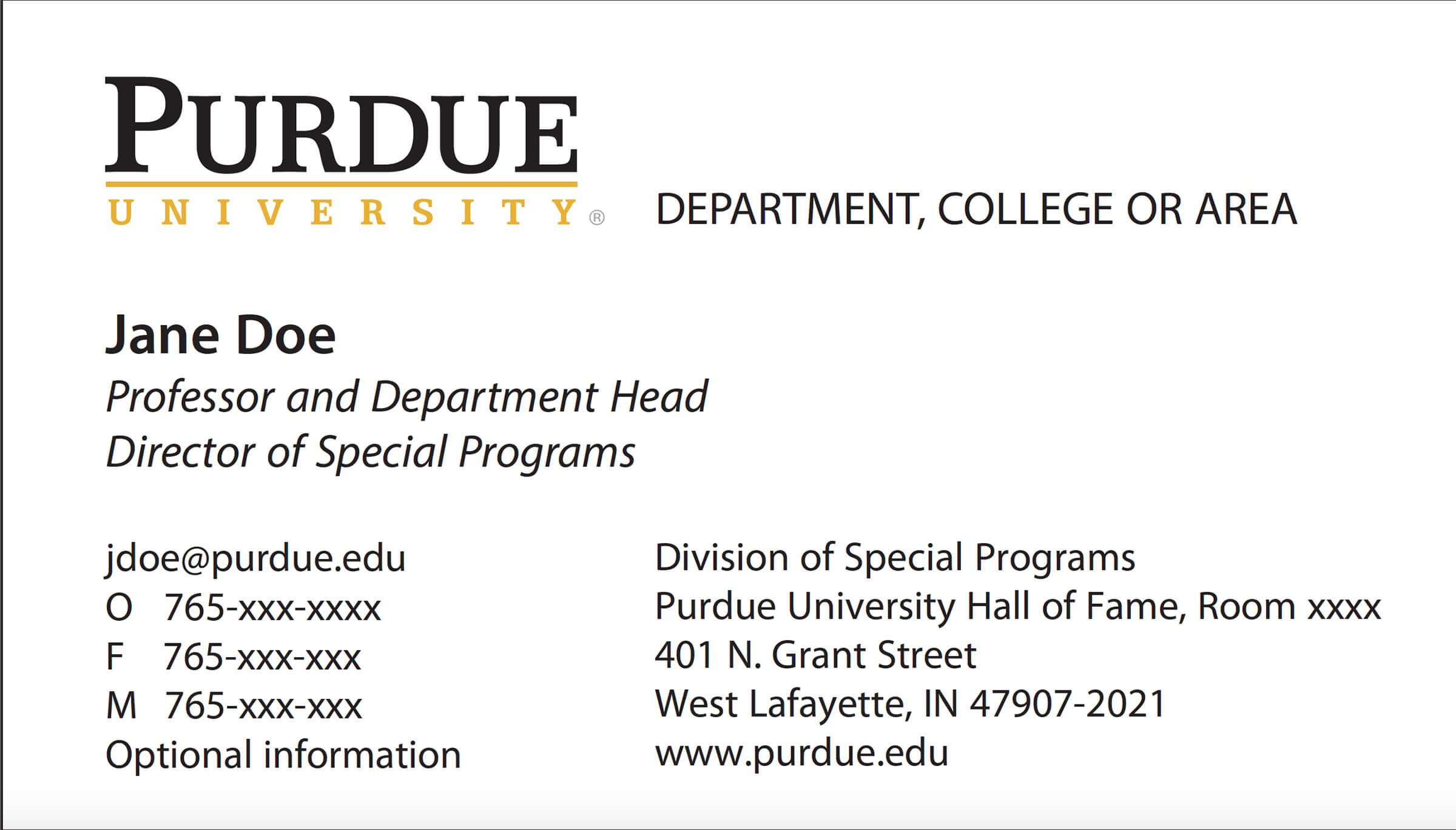 New Business Card Template Now Online - Purdue University News Inside Student Business Card Template