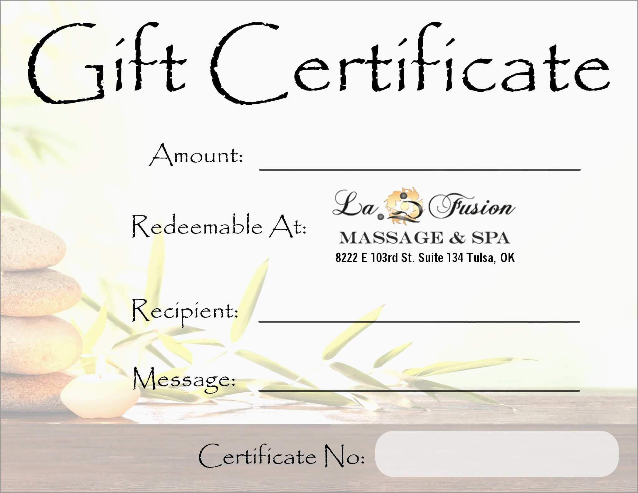 New Free Printable Massage Gift Certificate Templates | Best In Massage Gift Certificate Template Free Printable