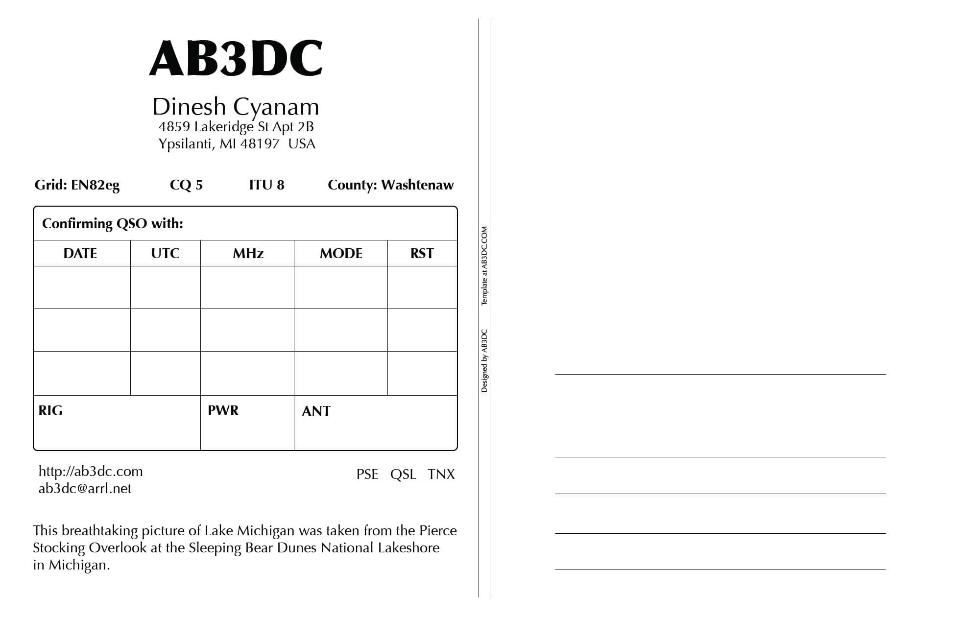 New Qsl Cards Design – Ab3Dc's Ham Radio Blog Throughout Qsl Card Template