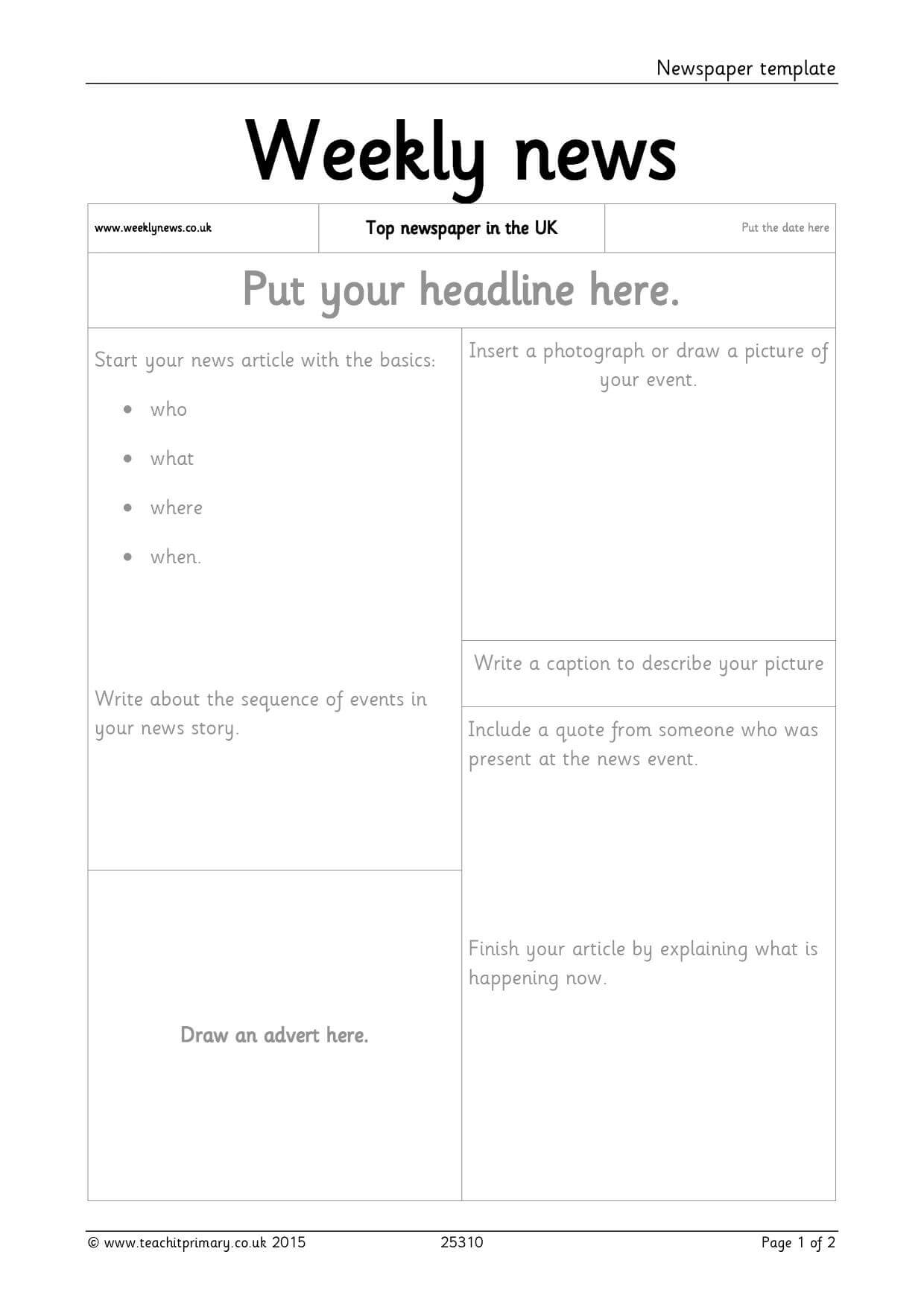 Newspaper Template throughout Report Writing Template Ks1