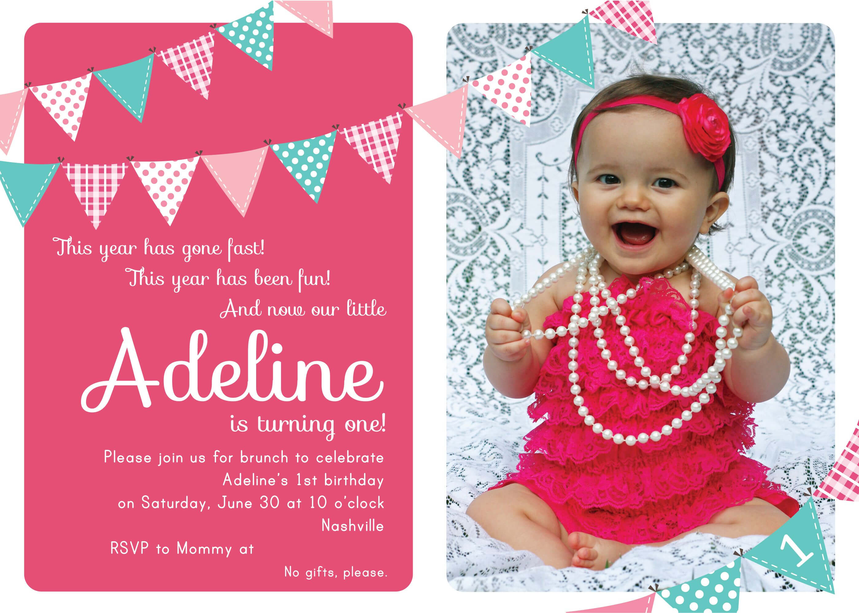 Nice Unique Ideas For First Birthday Party Invitations within First Birthday Invitation Card Template