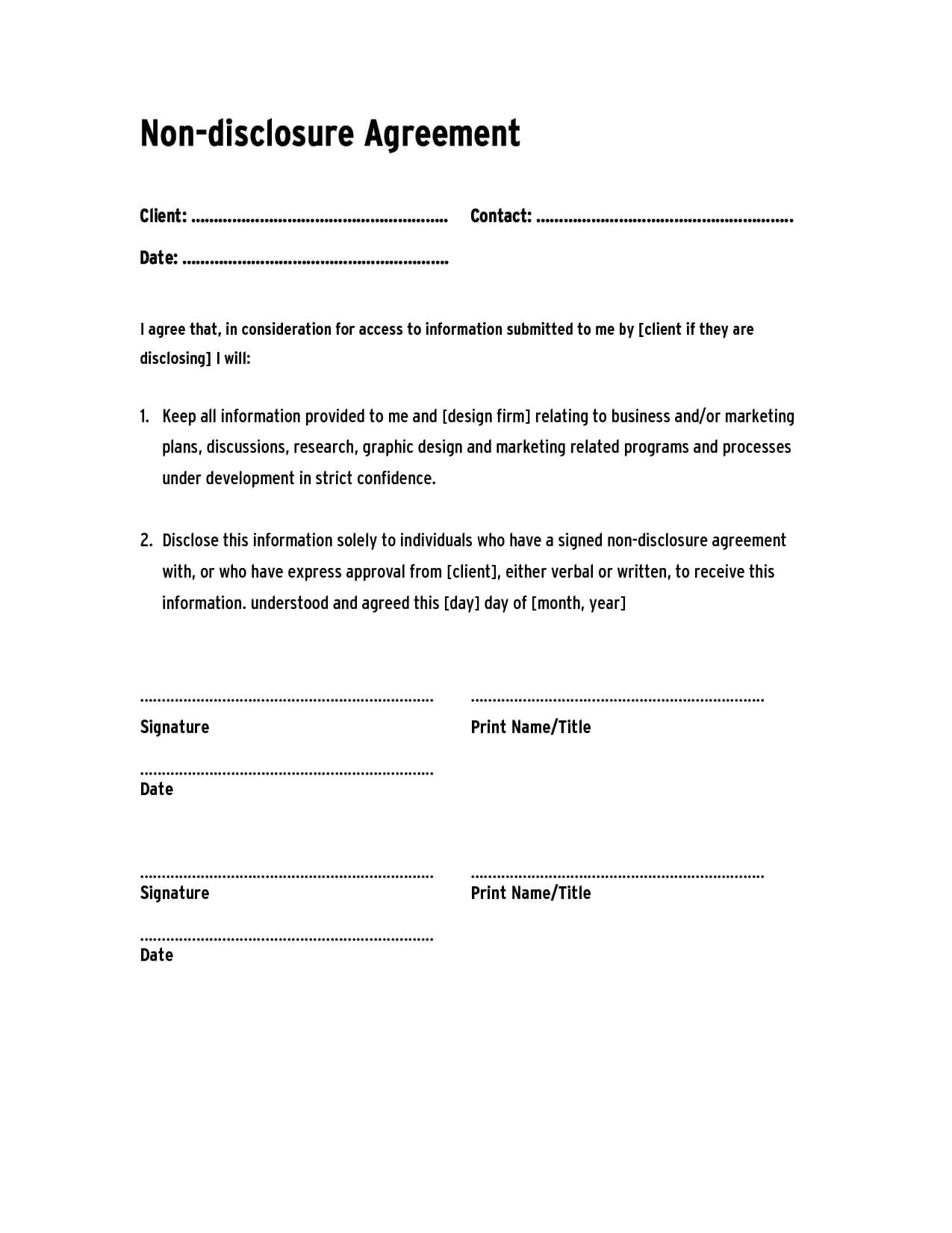 Non Disclosure Agreement Template ,confidentiality Agreement Intended For Nda Template Word Document