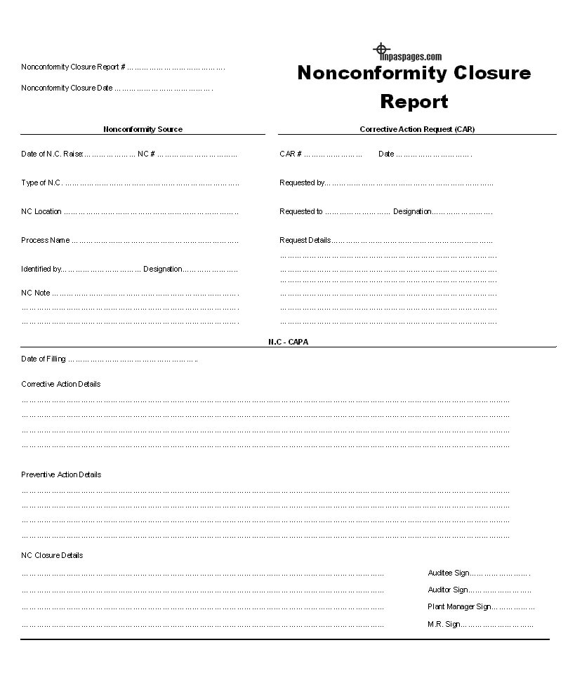 Nonconformity Closure Report Format throughout Closure Report Template