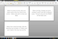 Note/index Cards – Word Template with Word Cue Card Template