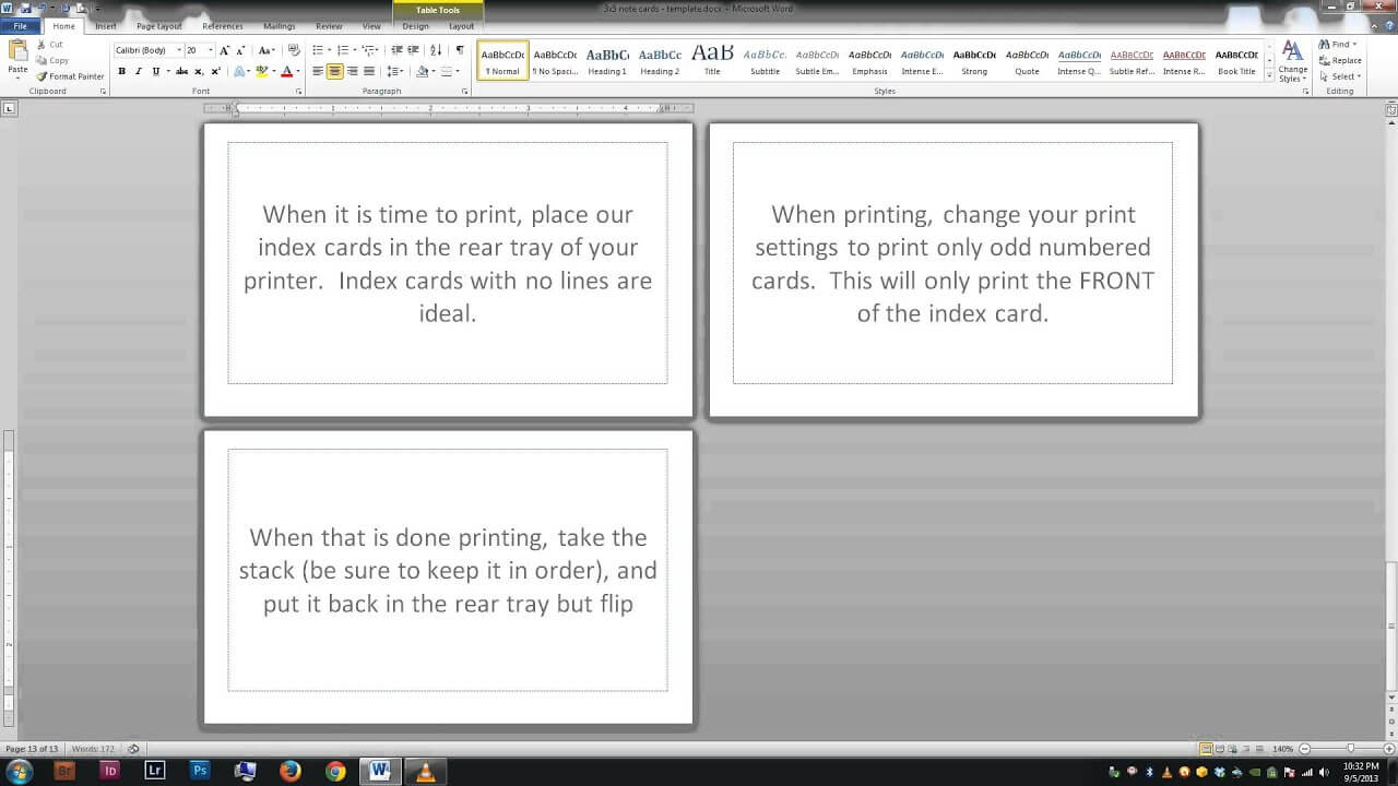 Note/index Cards - Word Template With Word Cue Card Template